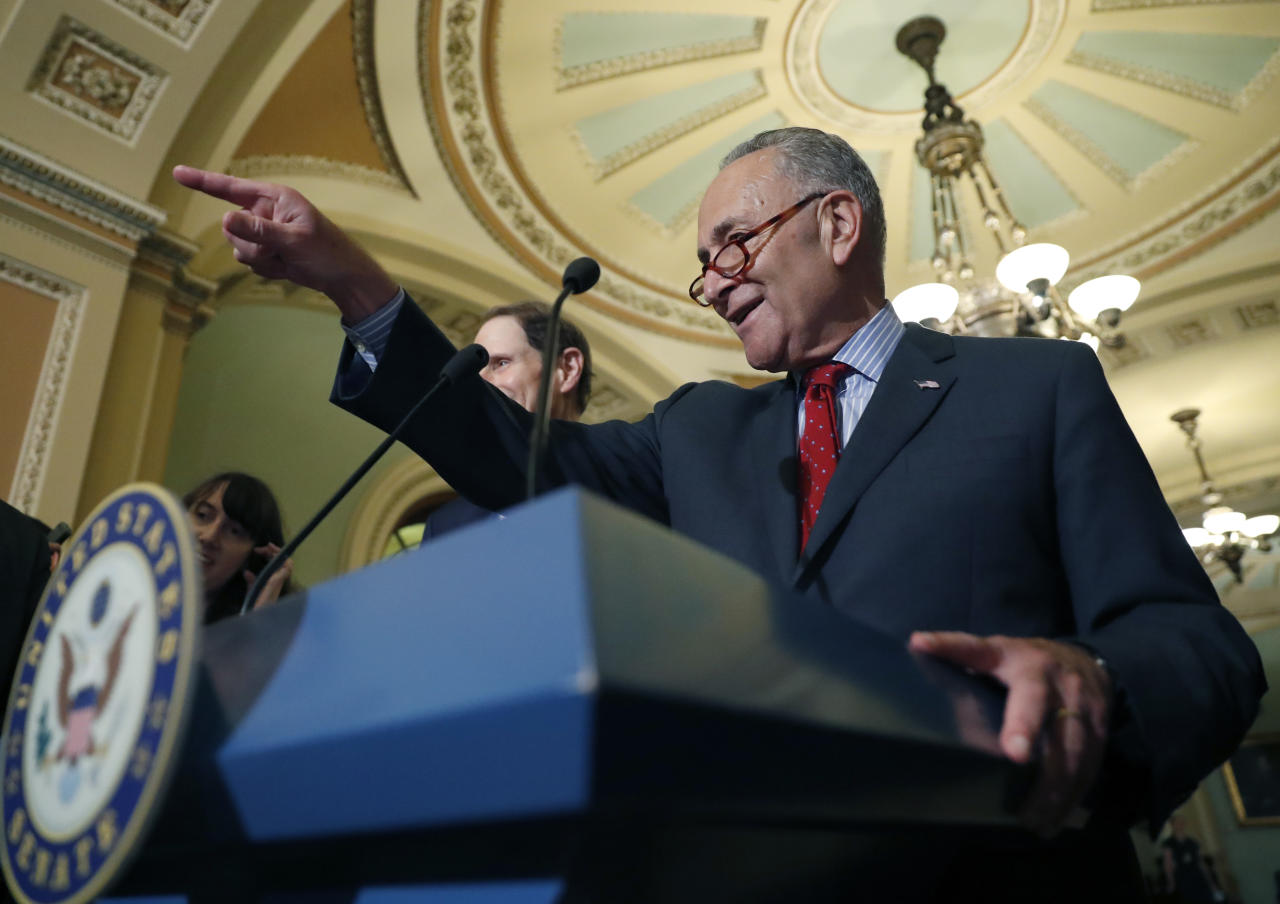 Senate Minority Leader Chuck Schumer of N.Y., points to a question as he speaks to the media, on Capitol Hill, Tuesday, Sept. 19, 2017, in Washington. (AP Photo/Alex Brandon)