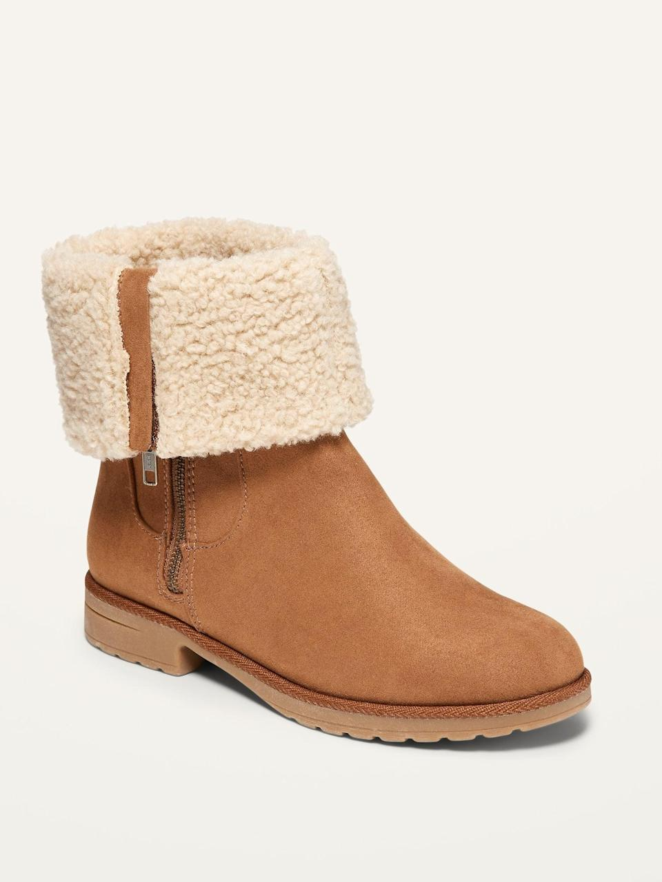 <p>I'm hoping for a rainy season so I can sport these <span>Water-Repellent Faux-Suede Sherpa-Lined Ankle Boots for Women</span> ($36, originally $45).</p>