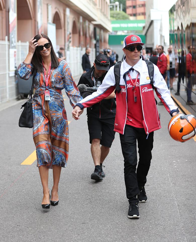 Kimi Raikkonen married model Minttu Virtanen in 2016, and they have a girl and a boy together. He's pictured with his wife in the paddock ahead of the 2019 Monaco Grand Prix at the Circuit de Monte Carlo, Monaco. (Photo by David Davies/PA Images via Getty Images)