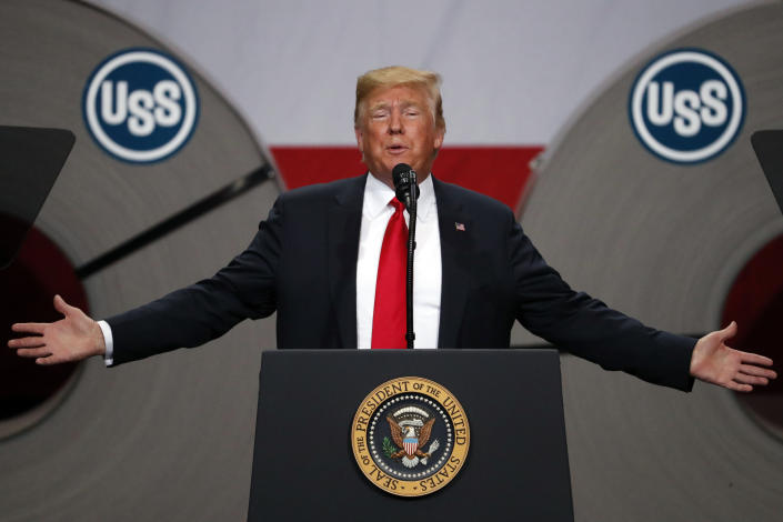 """FILE- In this July 26, 2018, file photo President Donald Trump speaks at the United States Steel Granite City Works plant in Granite City, Ill. The president frequently boasts that the taxes he's imposed on imports, steel and aluminum and nearly half of all goods from China, have showered the U.S. Treasury with newfound revenue. """"We are right now taking in $billions in Tariffs,'' Trump tweeted last month. """"MAKE AMERICA RICH AGAIN.'' Yet the fact is that tariffs like Trump's account for barely 1 percent of federal revenue. (AP Photo/Jeff Roberson, File)"""