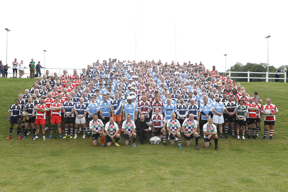 The 450 players gathered for VetsFest in memory of Olly Stephens
