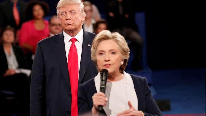 Donald Trump and Hillary Clinton taking part in a presidential debate in 2016