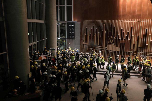 PHOTO: Protesters storm into the government headquarters in Hong Kong on July 1, 2019. (Vivek Prakash/AFP/Getty Images)