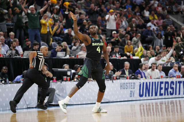 Baylor guard Mario Kegler (4) reacts to a 3-pointer during the first half against Syracuse in a first-round game in the NCAA mens college basketball tournament Thursday, March 21, 2019, in Salt Lake City. (AP Photo/Jeff Swinger)