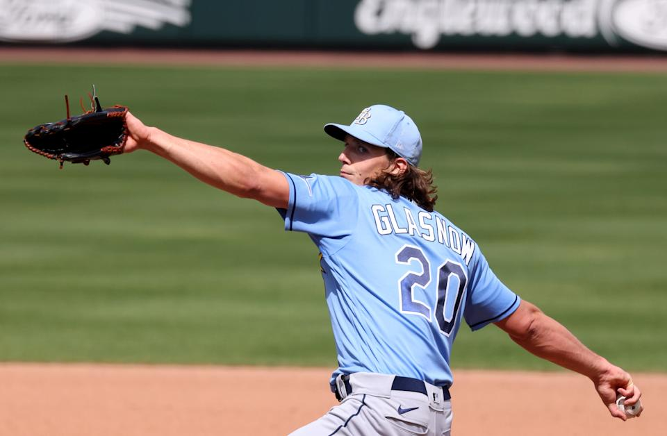 VENICE, FLORIDA - MARCH 11: Tyler Glasnow #20 of the Tampa Bay Rays delivers a pitch against the Atlanta Braves in a spring training game at CoolToday Park on March 11, 2021 in Venice, Florida. (Photo by Mark Brown/Getty Images)