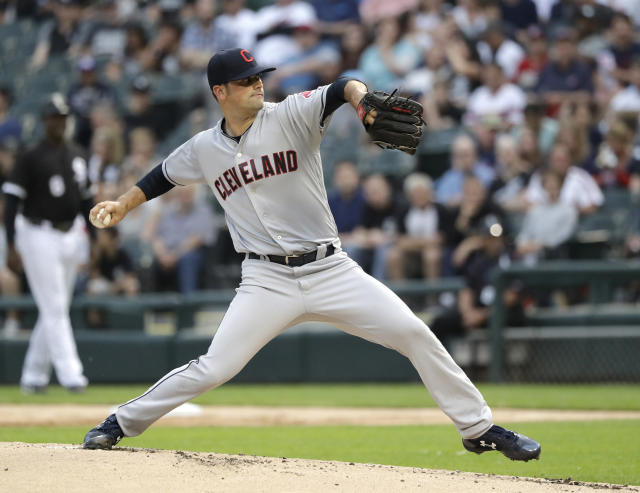Cleveland Indians starting pitcher Adam Plutko delivers during the first inning of the teams baseball game against the Chicago White Sox on Tuesday, June 12, 2018, in Chicago. (AP Photo/Charles Rex Arbogast)
