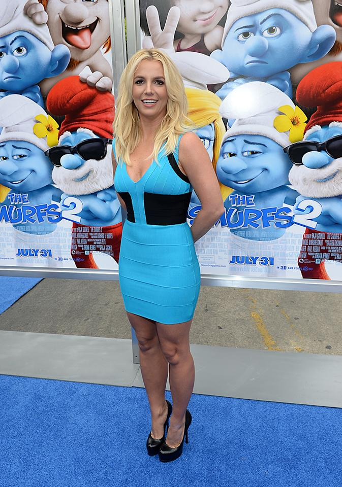"WESTWOOD, CA - JULY 28:  Singer Britney Spears attends the Los Angeles premiere of ""The Smurfs 2"" at Regency Village Theatre on July 28, 2013 in Westwood, California.  (Photo by Michael Buckner/Getty Images for SONY)"