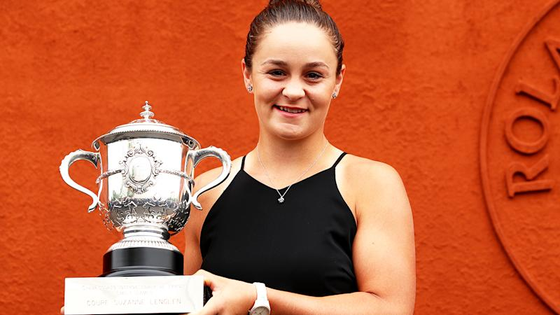 Ashleigh Barty, pictured here after winning the French Open in 2019.