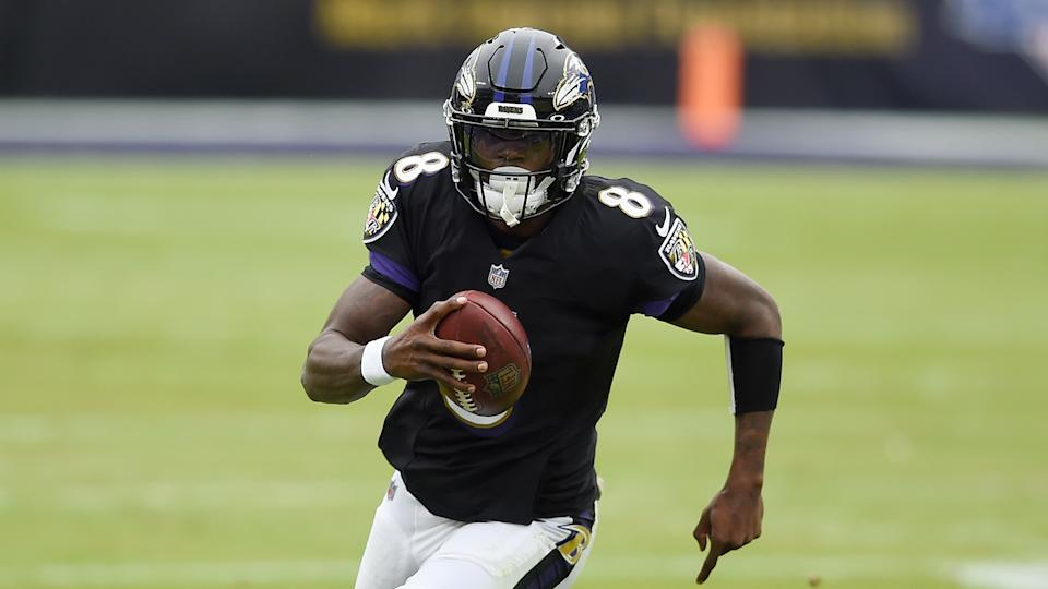 Baltimore Ravens quarterback Lamar Jackson during the first half of an NFL football game, Sunday, Nov. 22, 2020, in Baltimore. (AP Photo/Gail Burton)
