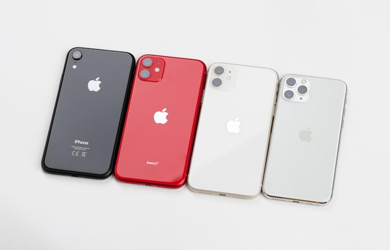 Rostov-on-Don, Russia - November 2019. Apple iPhone 11 Red, iPhone 11 Pro silver, iPhone 11 Silver and Apple iPhone XR black on a white background. Smartphones from the company Apple close-up.