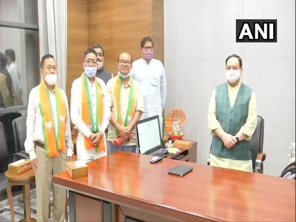 Five Manipur MLAs who joined BJP today and met party's national president Jagat Prakash Nadda