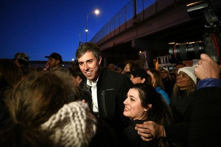 Beto O'Rourke, Democratic former Texas congressman, participates in an anti-Trump march in El Paso, Texas, U.S., February 11, 2019.  REUTERS/Loren Elliott