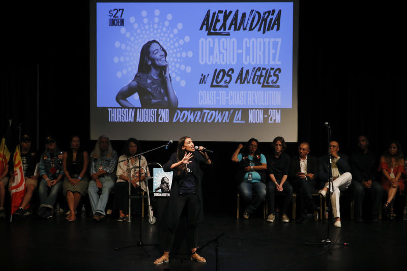 FILE - In this Thursday, Aug. 2, 2018, file photo, New York congressional candidate Alexandria Ocasio-Cortez addresses supporters at a fundraiser in Los Angeles. Ocasio-Cortez is trying to leverage the 17,000 votes that gave her a primary win in New York into a national movement. (AP Photo/Jae C. Hong, File)