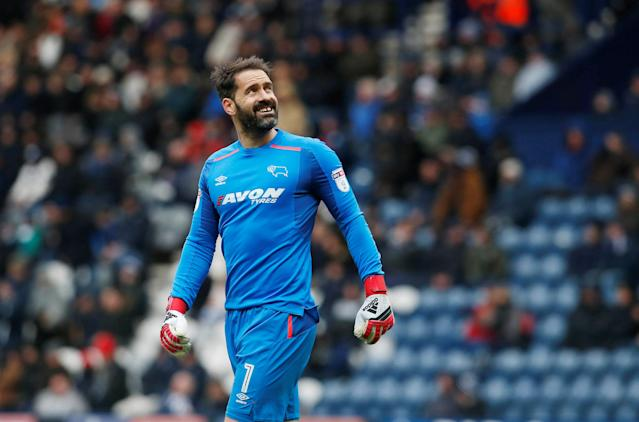 "Soccer Football - Championship - Preston North End vs Derby County - Deepdale, Preston, Britain - April 2, 2018 Derby County's Scott Carson Action Images/Craig Brough EDITORIAL USE ONLY. No use with unauthorized audio, video, data, fixture lists, club/league logos or ""live"" services. Online in-match use limited to 75 images, no video emulation. No use in betting, games or single club/league/player publications. Please contact your account representative for further details."
