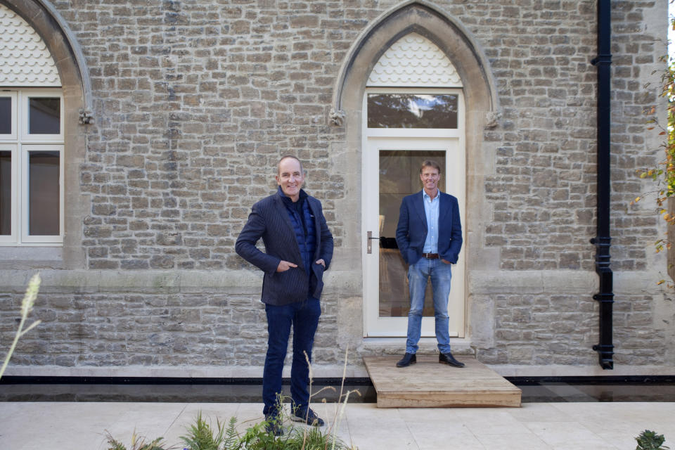 Kevin McCloud and the property owner Justin Maxwell Stuart. (Channel 4)