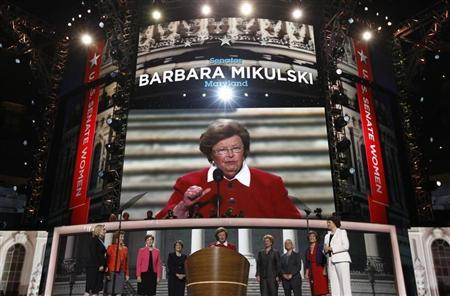 U.S. Senator Mikulski stands at the podium flanked by eight other Democratic female members of the U.S. Senate during the second session of the Democratic National Convention in Charlotte