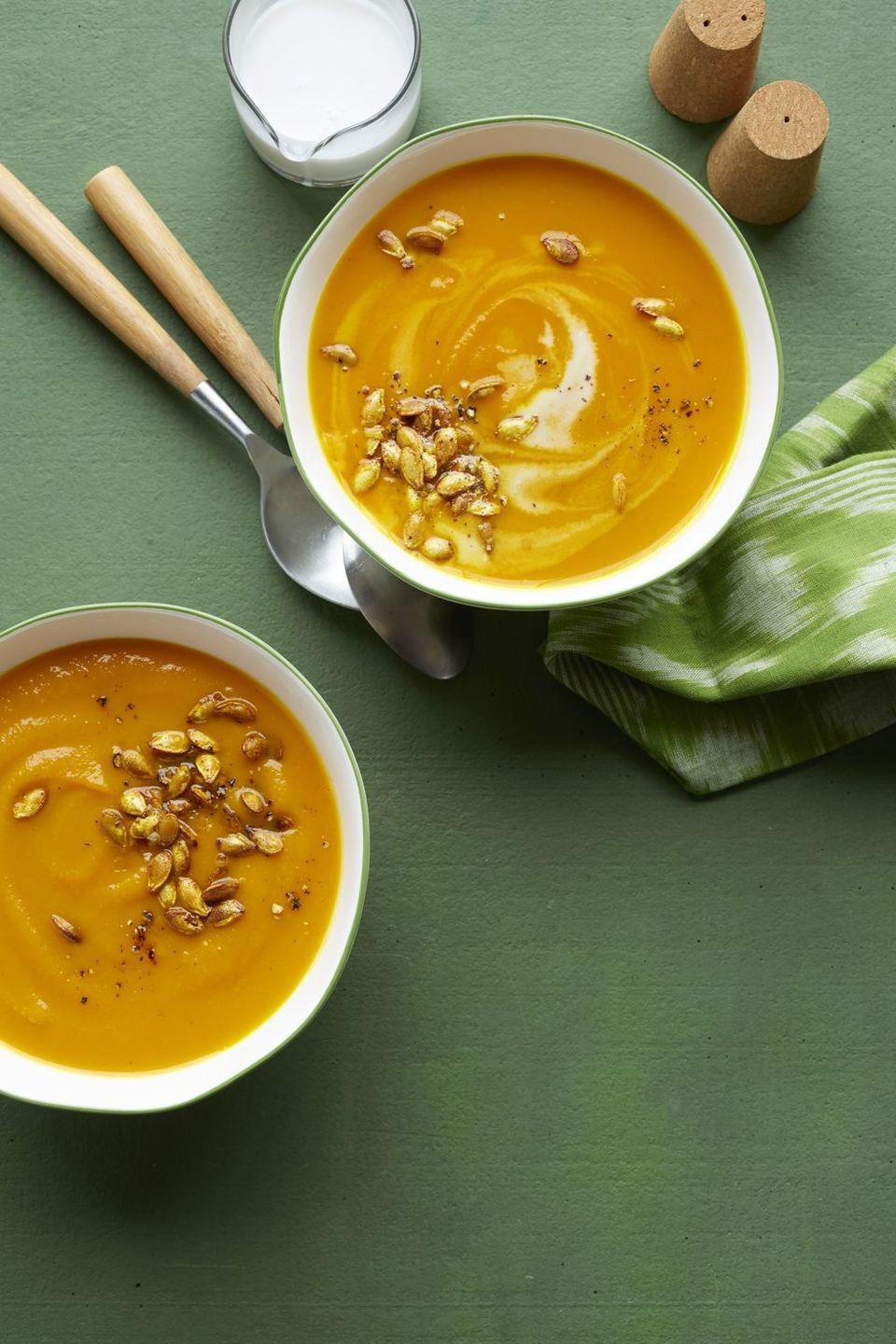 """<p>Please the vegans at Thanksgiving with this velvety soup that gets its creamy texture from coconut milk.</p><p><em><a href=""""https://www.womansday.com/food-recipes/food-drinks/recipes/a57663/butternut-squash-turmeric-soup-recipe/"""" rel=""""nofollow noopener"""" target=""""_blank"""" data-ylk=""""slk:Get the recipe from Woman's Day »"""" class=""""link rapid-noclick-resp"""">Get the recipe from Woman's Day »</a></em></p>"""