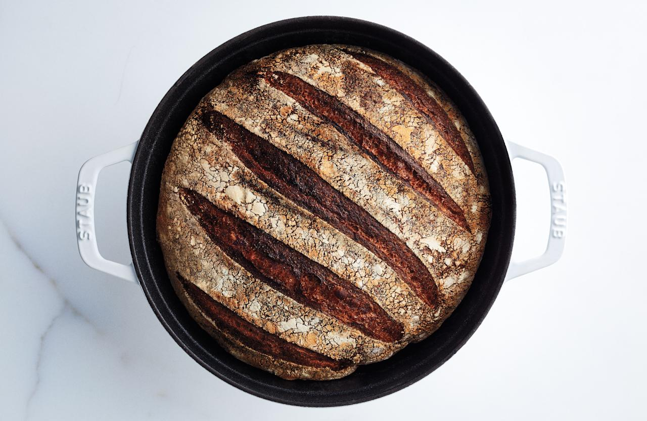 """This bread has a nutty flavor and intense chew; it makes toast that's a wholesome meal unto itself. To ensure you have fresh bread on time, count back three nights from the day you want to bake. If you want bread on Saturday, start Wednesday night. Bake it anytime Saturday. This is part of <a href=""""http://www.bonappetit.com/best?mbid=synd_yahoo_rss"""">BA's Best</a>, a collection of our essential recipes. <a href=""""https://www.bonappetit.com/recipe/bas-best-bread?mbid=synd_yahoo_rss"""">See recipe.</a>"""