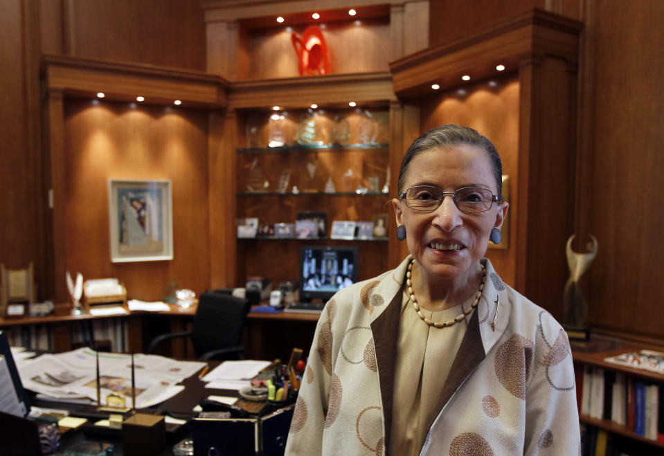 FILE - In this Aug. 3, 2010, file photo Supreme Court Justice Ruth Bader Ginsburg is photographed in her chambers in Washington. (AP Photo/Alex Brandon, File)