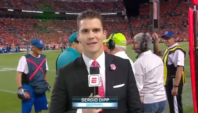 A sideline reporter stole the show during Monday Night Football