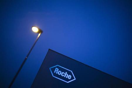 Logo of Swiss pharmaceutical company Roche is pictured in Rotkreuz