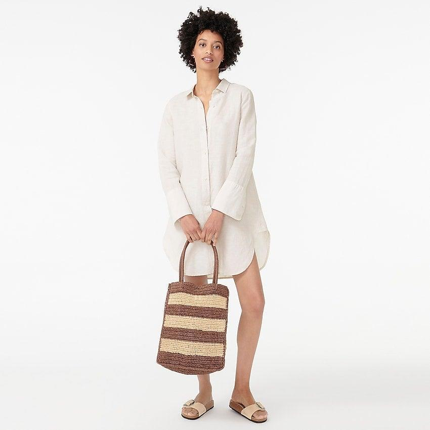 """<br><br><strong>J. Crew</strong> Button-up beach cover-up in linen-cotton, $, available at <a href=""""https://go.skimresources.com/?id=30283X879131&url=https%3A%2F%2Fwww.jcrew.com%2Fp%2Fwomens%2Fcategories%2Fclothing%2Fmaternity%2Fswim%2Fbutton-up-beach-cover-up-in-linen-cotton%2FAK283%3Fdisplay%3Dstandard%26fit%3DClassic%26color_name%3Dblack%26colorProductCode%3DAK283"""" rel=""""nofollow noopener"""" target=""""_blank"""" data-ylk=""""slk:J. Crew"""" class=""""link rapid-noclick-resp"""">J. Crew</a>"""
