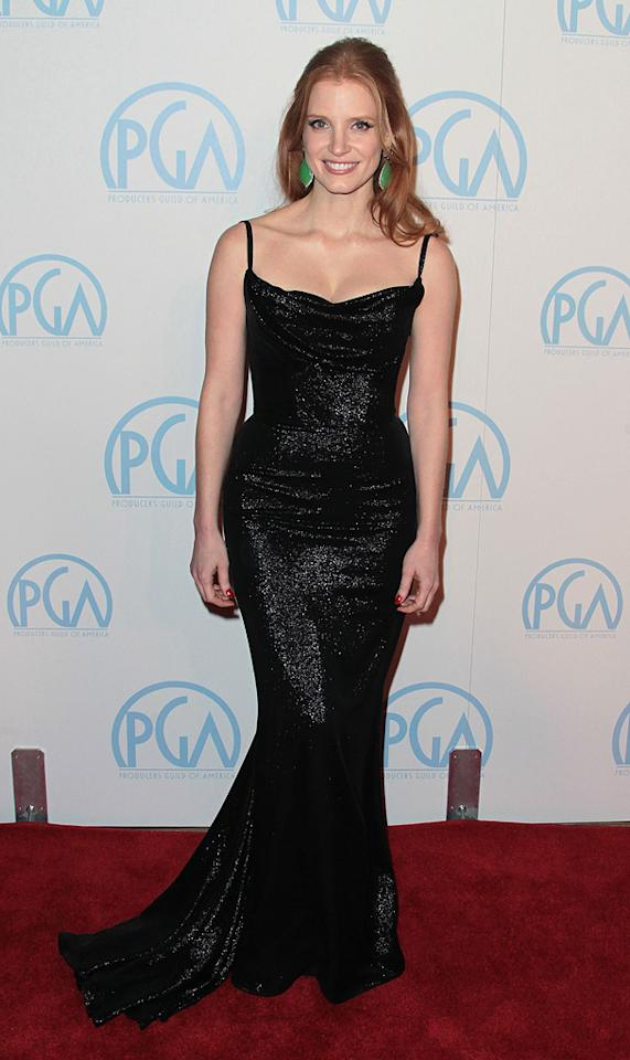 Jessica Chastain attends the 23rd Annual Producers Guild Awards at The  Beverly Hilton Hotel on January 21, 2012 in Beverly Hills, California.