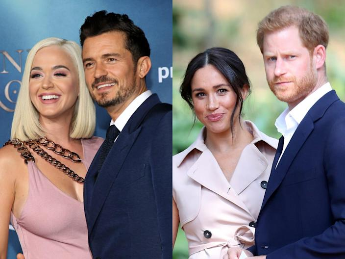 katy perry and orlando bloom side by side with meghan markle and prince harry