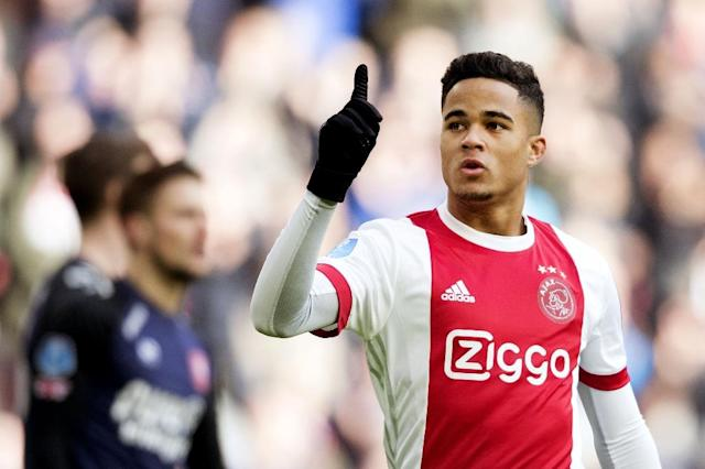 Justin Kluivert, pictured February 2018, will join for Roma on a five-year contract (AFP Photo/Olaf KRAAK)