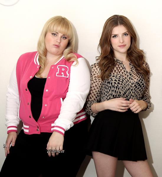 "FILE - This Sept. 21, 2012 file photo shows actors Rebel Wilson, left, and Anna Kendrick, from the film ""Pitch Perfect"", posing in West Hollywood, Calif. Since its release in Sept. 2012, ""Pitch Perfect: Original Motion Picture Soundtrack"" has peaked at No. 3 on Billboard's 200 albums chart and has sold more than 700,000 units, according to Nielsen SoundScan. Kendrick's ""Cup"" is certified platinum and is a Top 30 hit on the Billboard Hot 100 chart. (Photo by Matt Sayles/Invision/AP, file)"