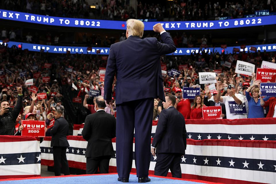 U.S. President Donald Trump gestures to supporters during a campaign rally in Dallas, Texas, U.S., October 17, 2019. REUTERS/Jonathan Ernst