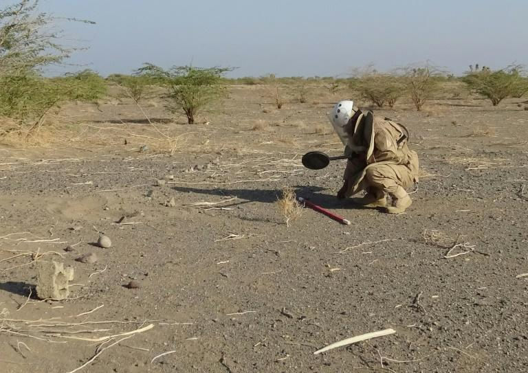 A member of a pro-government clearing team searches for landmines near the Yemeni village of Al-Hameli in Taez province on November 29, 2018