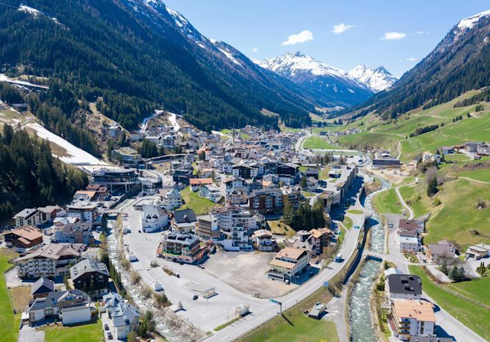 An aerial view of the village of Ischgl, a tourism hotspot, after a quarantine was ordered for western Tyrol, Austria's worst hit region by the new coronavirus pandemic, was lifted,   April 23, 2020. / Credit: JOHANN GRODER/EXPA/AFP/Getty