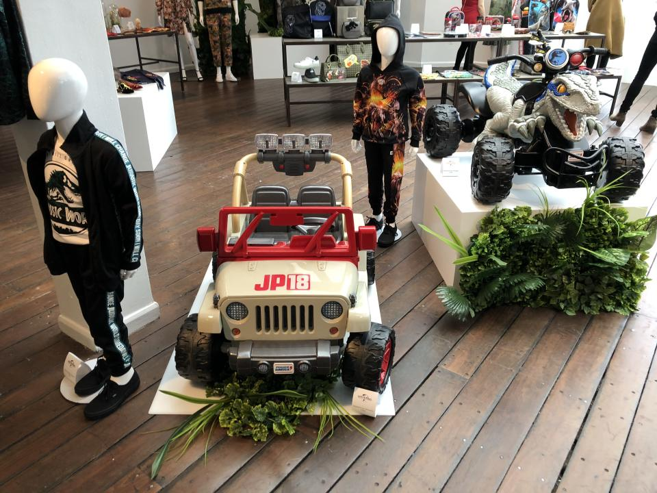 """<p>Put your tyke behind the wheel of these two <a rel=""""nofollow"""" href=""""https://www.yahoo.com/entertainment/tagged/jurassic-world-fallen-kingdom"""" data-ylk=""""slk:Jurassic World: Fallen Kingdom"""" class=""""link rapid-noclick-resp""""><em>Jurassic World: Fallen Kingdom </em></a>vehicles: a spiffy little jeep and a Velociraptor-fronted ATV. (Photo: Adam Lance Garcia) </p>"""