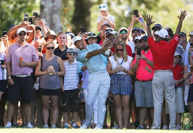 """<h1 class=""""title"""">TOUR Championship - Round Two</h1> <div class=""""caption""""> ATLANTA, GA - SEPTEMBER 21: Tiger Woods of the United States plays a shot on the fifth hole during the second round of the TOUR Championship at East Lake Golf Club on September 21, 2018 in Atlanta, Georgia. (Photo by Kevin C. Cox/Getty Images) </div> <cite class=""""credit"""">Kevin C. Cox</cite>"""