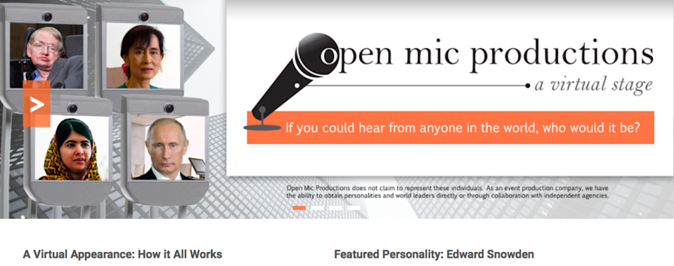 Snowden is the only speaker that Open Mic Productions lists as a client.