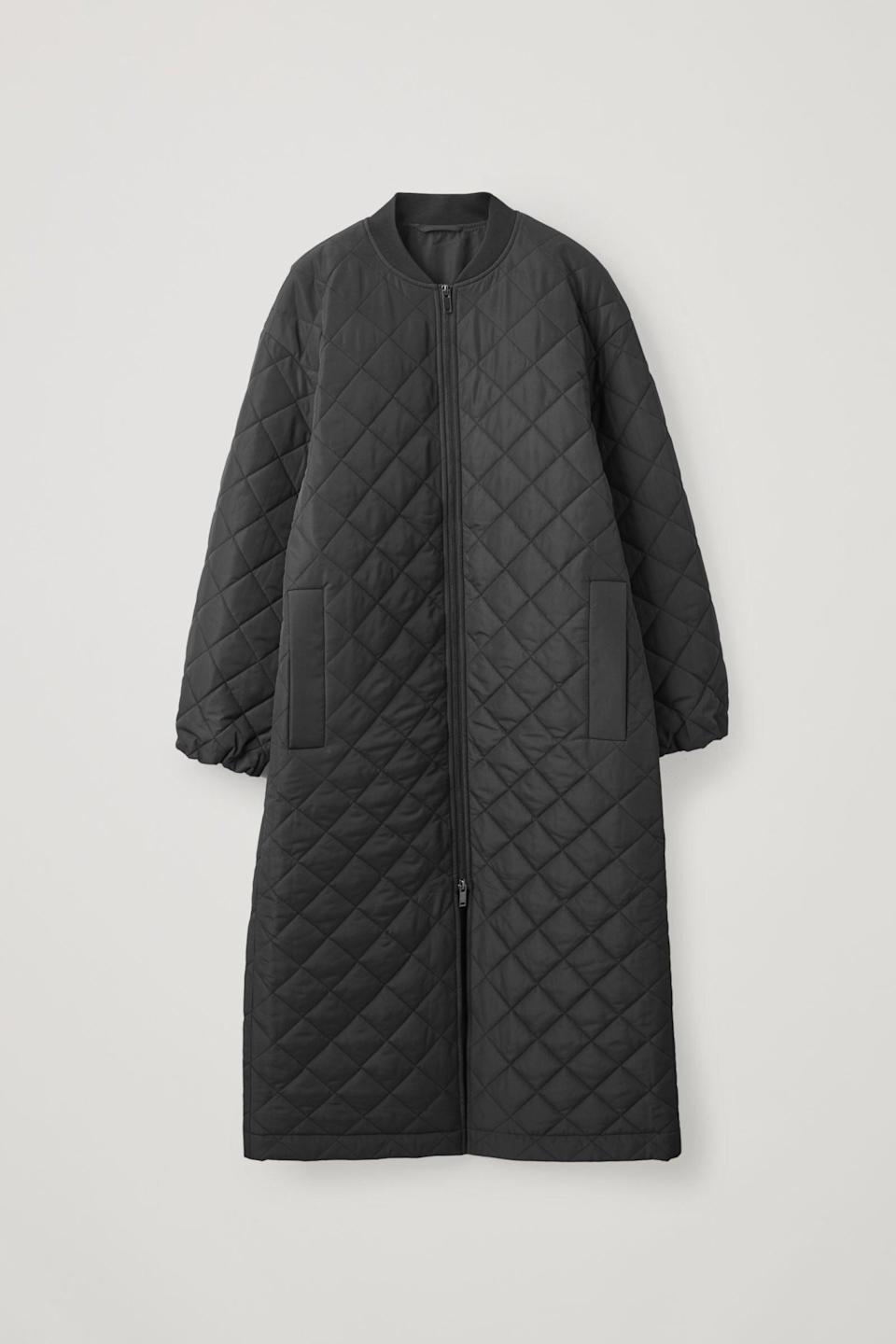 "<br><br><strong>COS</strong> Longline Quilted Coat, $, available at <a href=""https://www.cosstores.com/en_gbp/women/womenswear/coats-and-jackets/product.longline-quilted-coat-black.0928601006.html?gclid=Cj0KCQiA4feBBhC9ARIsABp_nbXwQ8_FwcRz_URTIFkEKUZL5WusKQ2Th-k7A1d--pwIkVPCyQqIxYoaAkHxEALw_wcB"" rel=""nofollow noopener"" target=""_blank"" data-ylk=""slk:COS"" class=""link rapid-noclick-resp"">COS</a>"