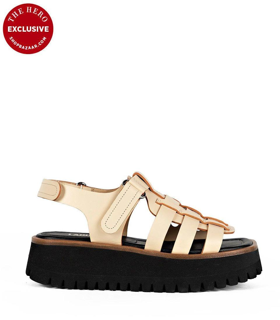 """<p><strong>Labucq</strong></p><p>ShopBAZAAR.com</p><p><strong>$350.00</strong></p><p><a href=""""https://go.redirectingat.com?id=74968X1596630&url=https%3A%2F%2Fshop.harpersbazaar.com%2Fdesigners%2Flabucq%2Fboomer-cream-52292.html&sref=https%3A%2F%2Fwww.harpersbazaar.com%2Ffashion%2Ftrends%2Fg33416855%2Fshop-the-best-chunky-sandals%2F"""" rel=""""nofollow noopener"""" target=""""_blank"""" data-ylk=""""slk:Shop Now"""" class=""""link rapid-noclick-resp"""">Shop Now</a></p><p>Up-and-coming shoe brand Labucq knows how to make a statement. The nostalgic style is the perfect combination of sporty and chic. Cleverly named The Boomer, you'll want to trade in your dad sneakers for this style. </p>"""