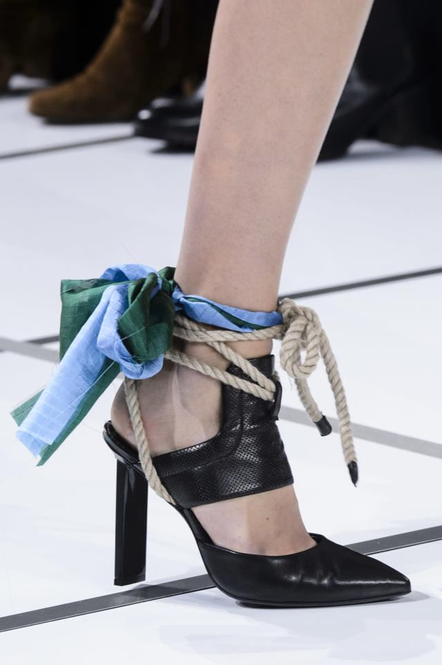 <p><i>Rope tie black heels from the SS18 Sacai collection. (Photo: ImaxTree) </i></p>