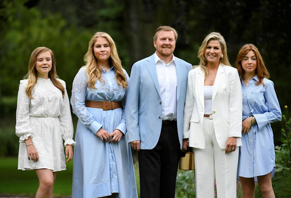 King Willem-Alexander, Queen Maxima, Princesses Amalia, Alexia and Ariane of the Dutch Royal family pose during an official photo session in The Hague, Netherlands July 17, 2020. REUTERS/Piroschka van de Wouw/Pool