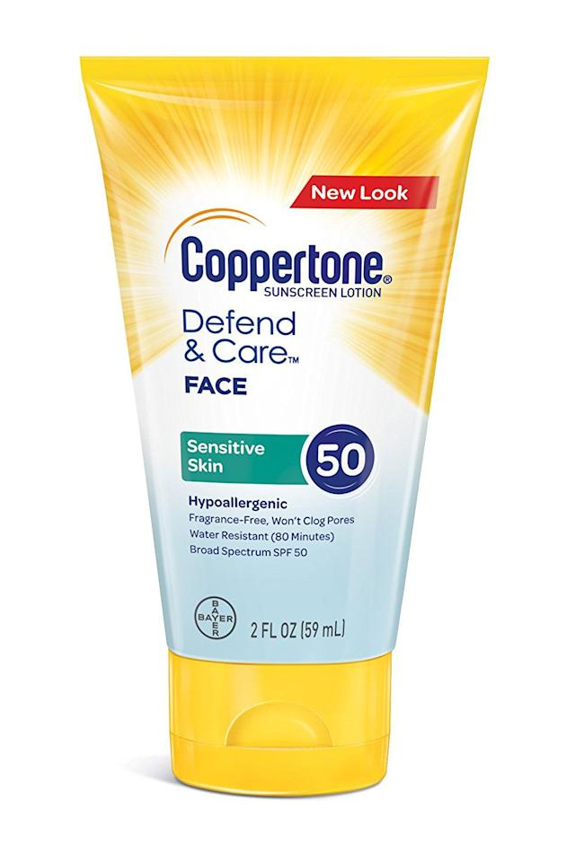 "<p><a rel=""nofollow"" href=""https://www.amazon.com/Coppertone-Sensitive-Sunscreen-Spectrum-2-Fluid/dp/B074W8DCQR/ref=sr_1_4_a_it"">BUY NOW</a><br></p><p>You don't have to worry about breakouts with this hypoallergenic, <strong>fragrance-free formula</strong>. It's free of dyes, oils, and alcohol, and has <strong>derm-recommended zinc oxide</strong> to protect your skin. </p><p><em>($11, <a rel=""nofollow"" href=""https://www.amazon.com/Coppertone-Sensitive-Sunscreen-Spectrum-2-Fluid/dp/B074W8DCQR/ref=sr_1_4_a_it"">amazon.com</a>)</em><em><br></em></p><p><em><em></em></em></p><p><em></em></p><p><em><em></em></em><strong>RELATED: <a rel=""nofollow"" href=""https://www.redbookmag.com/beauty/makeup-skincare/advice/g646/best-cc-creams/"">The Best CC Creams for Your Most Flawless Skin Ever</a></strong></p><p><em></em></p>"