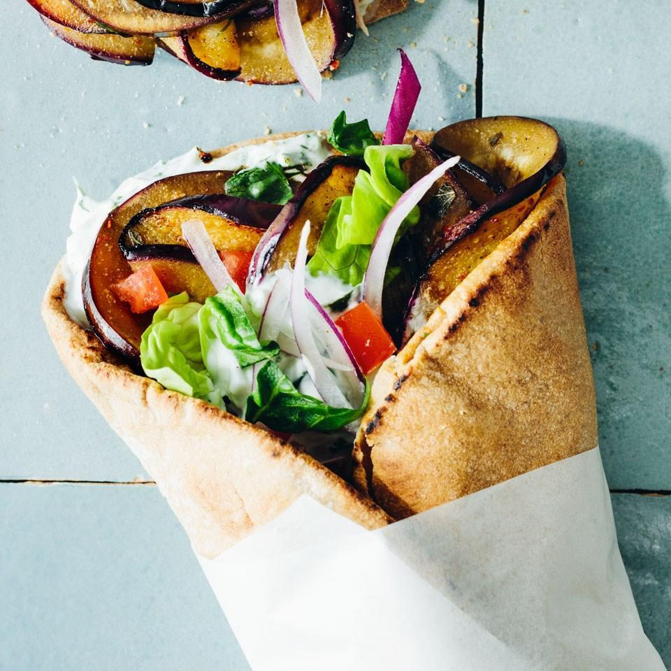 <p>Eggplant's meaty texture is a delicious vegetarian stand-in for the lamb that typically fills a gyro sandwich. The vegetable absorbs the lemony-herby-spicy marinade like a sponge, so if you have time, let it marinate for the full day.</p>