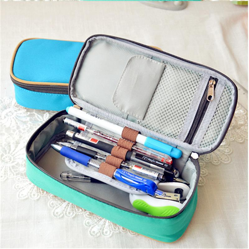 Canvas Pencil Case ,Multifunction Large Capacity Stationary Bag Makeup Cosmetic Pen Box with Zipper Travel Storage Organizer Holder