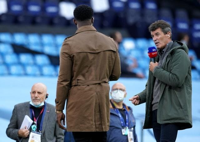 Roy Keane, right, working for Sky Sports