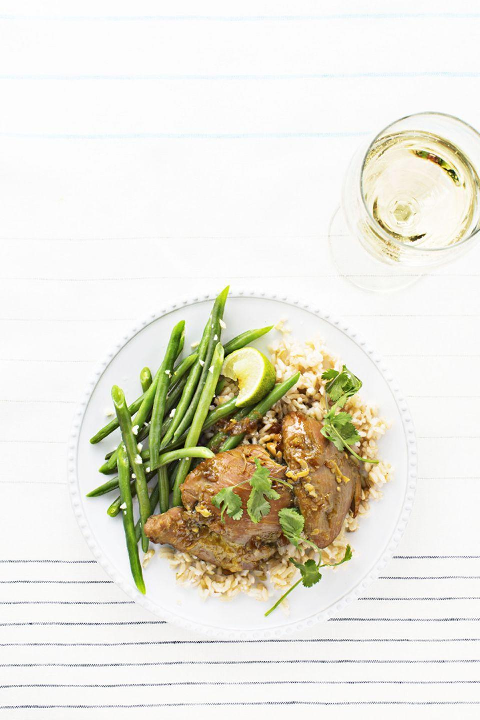 "<p>Don't skip on <a href=""https://www.goodhousekeeping.com/food-recipes/cooking/g4816/how-to-cook-brown-rice/"" rel=""nofollow noopener"" target=""_blank"" data-ylk=""slk:the brown rice"" class=""link rapid-noclick-resp"">the brown rice</a>. You're going to want something to soak up all that garlicky, gingery goodness.</p><p><em><a href=""https://www.goodhousekeeping.com/food-recipes/a31836/chicken-adobo-over-gingery-rice-recipe-ghk0415/"" rel=""nofollow noopener"" target=""_blank"" data-ylk=""slk:Get the recipe for Chicken Adobo Over Gingery Rice »"" class=""link rapid-noclick-resp"">Get the recipe for Chicken Adobo Over Gingery Rice »</a></em></p>"