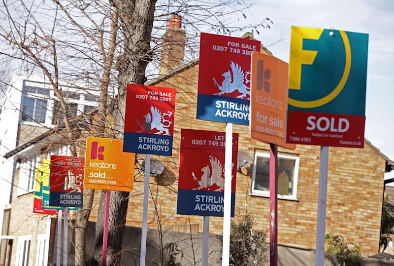 Embargoed to 0001 Thursday March 14 File photo dated 1/3/2015 of a row of estate and letting agent signs displayed outside houses in Clapton, east London. Prolonged Brexit uncertainty is damaging confidence in the housing market and overshadowing other pressing issues, as the number of properties for sale sits at record low levels, surveyors have warned.