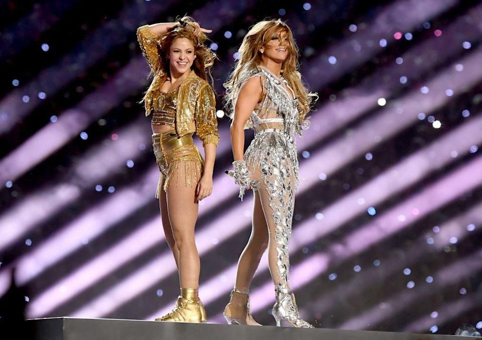 <p>And the two Latina women closed the show in complementing metallic outfits. </p>