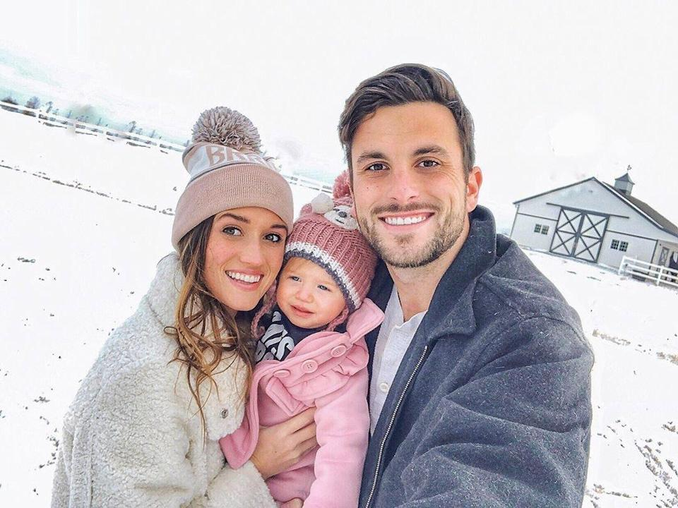 """The reality star shared in a February 2019 Instagram post that she and her now-husband Tanner had <a href=""""https://people.com/parents/jade-roper-tanner-tolbert-miscarriage-pregnant-bachelor-in-paradise/"""" rel=""""nofollow noopener"""" target=""""_blank"""" data-ylk=""""slk:conceived while filming Bachelor in Paradise"""" class=""""link rapid-noclick-resp"""">conceived while filming <em>Bachelor in Paradise</em></a>, but sadly lost the baby. Tolbert said she had """"been keeping this weight for a long time"""" but was ready to tell the world as she was <a href=""""https://people.com/parents/tanner-tolbert-jade-roper-pregnant-expecting-second-child/"""" rel=""""nofollow noopener"""" target=""""_blank"""" data-ylk=""""slk:then-pregnant with"""" class=""""link rapid-noclick-resp"""">then-pregnant with</a> son Brooks Easton. """"Being pregnant with our second child, all these emotions have been on the surface for me,"""" she wrote. """"I just felt it was time to get it out of me and share our story and honor our baby."""""""