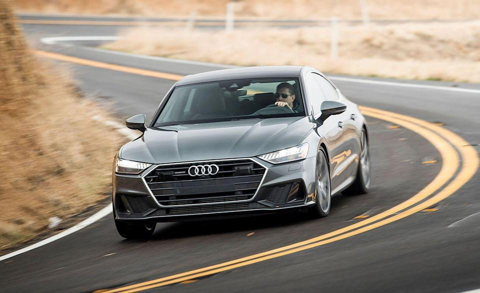 """<p>The <a href=""""https://www.caranddriver.com/audi/a7"""" rel=""""nofollow noopener"""" target=""""_blank"""" data-ylk=""""slk:Audi A7"""" class=""""link rapid-noclick-resp"""">Audi A7</a> is a little like the A6, only it's bigger, quicker, and its hatchback rear lid makes it a more useful luxury four-door. <a href=""""https://www.iihs.org/ratings/vehicle/audi/a7-4-door-hatchback/2021"""" rel=""""nofollow noopener"""" target=""""_blank"""" data-ylk=""""slk:The A7 scored"""" class=""""link rapid-noclick-resp"""">The A7 scored</a> Good and Superior ratings on almost all IIHS testing, with an Acceptable rating for headlights. Although every A7 comes with low- and high-beam LED projectors, the lights emitted some glare that kept it from receiving a Good rating. The <a href=""""https://www.caranddriver.com/reviews/comparison-test/a25938596/2019-audi-a7-vs-2019-mercedes-benz-cls-four-door-luxury-coupe/"""" rel=""""nofollow noopener"""" target=""""_blank"""" data-ylk=""""slk:2019 A7 we last tested"""" class=""""link rapid-noclick-resp"""">2019 A7 we last tested</a> weighed 4377 pounds, could get to 60 mph from a stop in just 4.4 seconds, and could come to a stop from 70 mph in just 157 feet. Not only did the over two-ton luxury sedan avoid a collision at 25 mph, the Audi Pre Sense technology slowed it by 36 mph in 2.3 seconds before impacting a test dummy during the 37-mph IIHS parallel adult test.</p><p><a class=""""link rapid-noclick-resp"""" href=""""https://www.caranddriver.com/reviews/a23708050/2019-audi-a7-3-0t-design-well-executed/"""" rel=""""nofollow noopener"""" target=""""_blank"""" data-ylk=""""slk:A7 TESTED"""">A7 TESTED</a> 