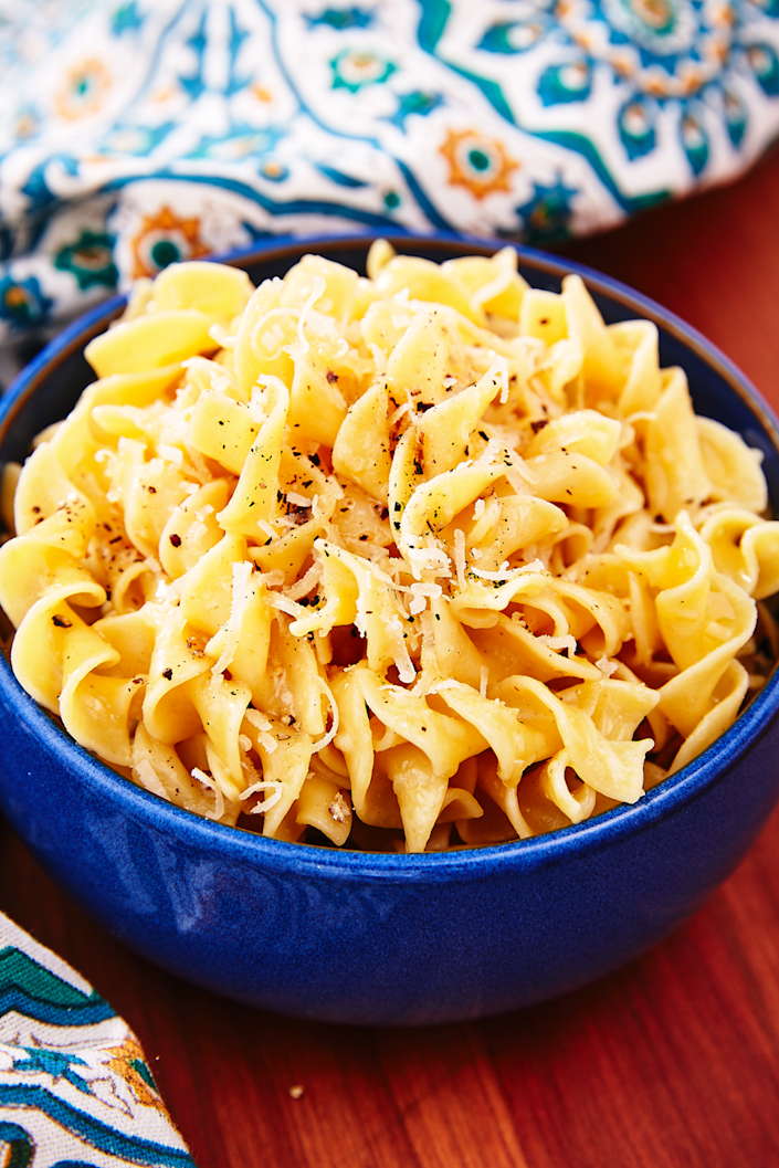 "<p>Everyone loves buttered noodles. </p><p>Get the recipe from <a href=""https://www.delish.com/cooking/recipe-ideas/a25636049/buttered-noodles-recipe/"" rel=""nofollow noopener"" target=""_blank"" data-ylk=""slk:Delish"" class=""link rapid-noclick-resp"">Delish</a>. </p>"